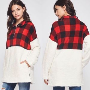 Buffalo Plaid Sherpa Pullover High Neck Red Black